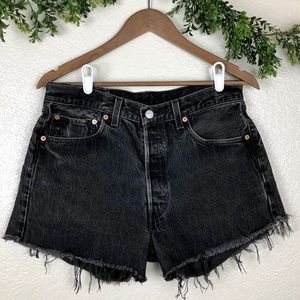 501® High Rise Distressed Levis Black Jean Shorts